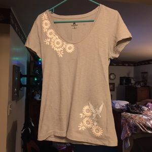 Disney Parks Tinker Bell Grey Embroidered Tee MD